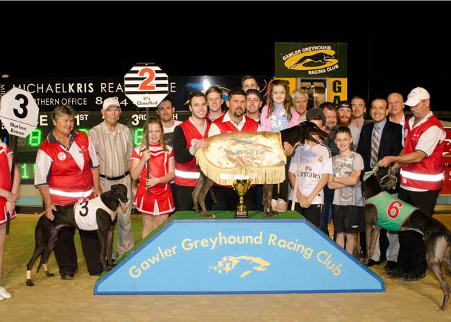 The presentation after the race, with trainer Troy Murray