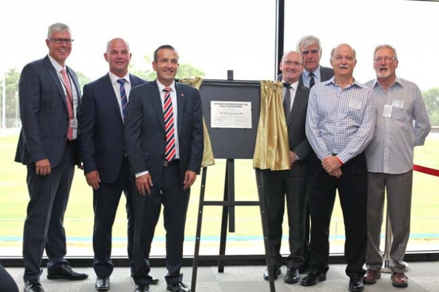 The new facility official opening ceremony  - L to R BRSA Board member Grantley Stevens, GRSA Chairman Michael Fabbro, Member for Light Tony Piccolo, GRSA Board members Paul Preiss and Chris Doyle, GGRC Secretary Bob May and Chairman Mike Wittholz.