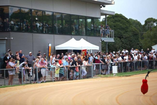 Some of the racegoers in front of the new facility